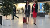 aeroporto : Two beautiful young businesswomen walking across duty-free zone at airport, one of them pulling red suitcase, slow motion shot on Sony NEX 700