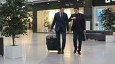 aeroporto : Two young businessmen walking across duty free zone at airport, one of them pulling suitcase, another man checking time; slow motion shot on Sony NEX 700