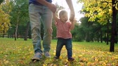 Dad walking with little baby boy on golden foliage in the park in slow motion Stock Footage