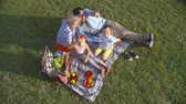 vínculo : High angle view of affectionate young family having a fruit picnic on green lawn and embracing together Vídeos