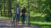 randka : Beautiful young couple talking lively while walking with bikes through park in summertime