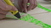 três : Close-up of female hands drawing three-dimensional Eiffel tower model with 3d printing pen