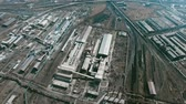metalurgia : Aerial view of large factory consisting of many industrial buildings and constructions