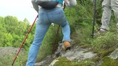 explorar : Tracking left of backpacking couple with hiking poles walking down mountains covered with green plants, slow motion shot