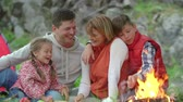 prole : Happy family consisting of father, mother, son and daughter sitting near campfire, talking and laughing, medium slow motion shot