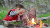 lenha : Cute boy and girl lying on picnic blanket near small campfire, looking at flame and adjusting firewood with twigs,slow motionshot on Sony NEX 700