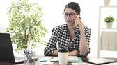 discutir : elegant attractive female office worker using mobile cell phone calling for colleague discussing work plan when she working at home