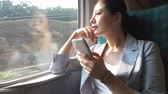 chegar : beautiful Asian business woman looking forward the train is ready to arrive at her destination station and texting message to her friend with her smartphone app. Vídeos