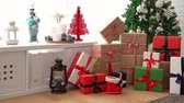 через : many gift box with A beautiful living room decorated for Christmas.