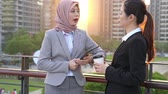 discutir : two young beautiful business woman discuss together standing outside of the office with sunset sunlight. Vídeos