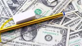 borracha : Expensive school supplies concept. Stock Footage