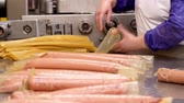 recept : production of boiled sausages and smoked sausage at a meat factory. Food industry.