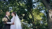 wedding : Beautiful wedding couple in the park HD