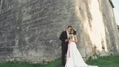 casamento : Beautiful wedding couple embracing near the castle wall 4K