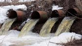 corrode : Water flows from large pipes 7 Stock Footage