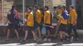 schválení : SAMARA, RUSSIA - JUNE 21, 2018: Australian football fans on the streets of Samara during the football world Cup 2018