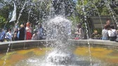 spurt : Russia, Samara, May 27, 2018: People relax in the Park by the fountain
