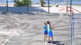 drible : SAMARA, RUSSIA - JUNE 21, 2018: Teenagers practice in the game of basketball. Slow motion Stock Footage