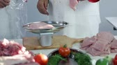 preparations : Weighing turkey stakes in butchery