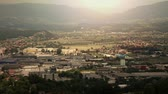 surrounding environment : Panoramic shot of Celje-Slovenia during the sunset Stock Footage
