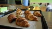 kruvasan : Croisants on baking tray Stok Video
