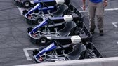 gokart : Four empty go-karts on the racing track
