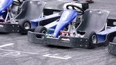 gokart : Blue go-carts parked at the starting line on a racing track