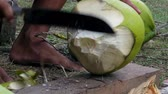 食物 : Close up shot of a man chopping coconut with a knife