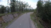 cornering : AERIAL: Beautiful road with spruce forest skater riding through. Flying above empty road with longboard skater riding through in slow motion. Stock Footage