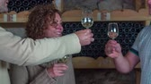 connoisseur : Toast before you try wine. Slow motion close up RAW footage of a couple toasting with waiter and then trying the select wine from wine cellar of a domestic restoration.