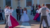 trough : SENTJUR SLOVENIA  OCTOBER 2014: Slow motion total RAW footage of a just married couple walks trough the dancing couples on a sunny day. Stock Footage