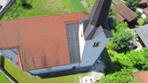 soul searching : Christian church and bell shot from the top. There is beautiful summer day outside. Slow motion video