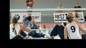 saraivada : EVENT PARA-VOLLEYBALL PODÄŒETRTEK 11.10.2015: In this video, we can see the long game between two different volleyball teams. Close-up shot. Stock Footage