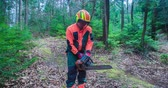 pár : A young forestman is starting a chainsaw because he needs to cut down a few trees in the woods. He is dressed in a protective gear. Close-up shot. Dostupné videozáznamy