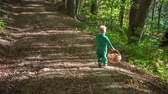 košíček : A small boy is running with a wooden basket on a forest path. Its a nice day and its autumn time.