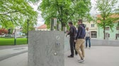 main street : ZALEC, SLOVENIA JUNE 10th 2017 Two young guys are deciding which beer they shall try first from the fountain in the middle of a park. Stock Footage