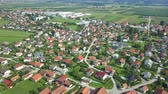 serio : We can see a beautiful landscape in Slovenia in the summer time. Aerial shot. Its a really nice sunny day.
