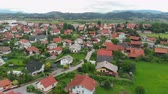 serio : A really nice village in the middle of Slovenia. The landscape is really green and gorgeous. Aerial shot.