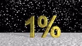 ampliar : Close up Golden 1% on Snow Graphic Design Stock Footage