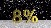 ampliar : Gold 8 percent symbol in falling snow Stock Footage
