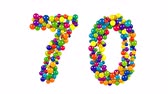 Number 70 as colorful balls over white background