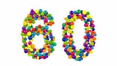 Number 60 as balls over white background Stock Footage