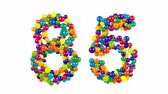 Number 85 FORMED of colorful balls Stock Footage