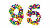 Colorful bright number 95 FORMED of small spheres