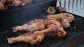 grill marinade : Grill, Frying Chicken Barbecue, BBQ, Barbecue, seafood. Closeup Stock Footage