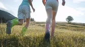 botok : Two happy kid girls wears colored rubber bots running on wet grass up to mountain top, childhood concept, sundown 120FPS slowmotion Stock mozgókép