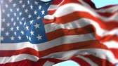 conquest : Animation of US flag blowing in the wind in slow motion, loopable American symbol Stock Footage