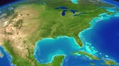 континент : Planet Earth from space. North America with Ocean waves. Стоковые видеозаписи
