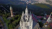 church : Tibidabo mountain, Barcelona, Catalonia, Spain. Stock Footage
