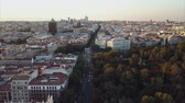 lugar : Fly over the evening Madrid with a view of the house and the road